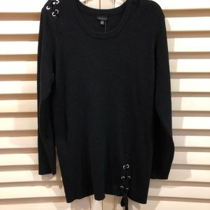 BLACK LACE UP SWEATER!!!